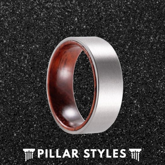 Silver Titanium Wedding Band Mens Rose Wood Ring - Pillar Styles