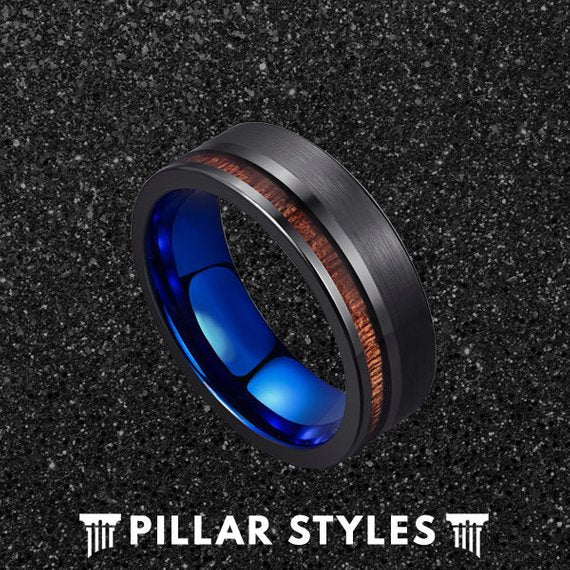 Unique Koa Wood Ring Mens Wedding Band Tungsten Ring with Blue Sleeve - Black Mens Ring