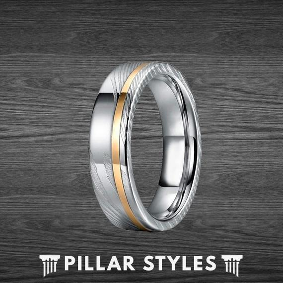 6mm & 8mm Damascus Ring with Rose Gold Inlay - Pillar Styles