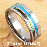 Exotic Abalone Shell Ring with Turquoise Inlay - Pillar Styles