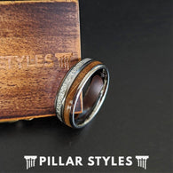 8mm Meteorite Ring Mens Wedding Band Whiskey Barrel Ring - Unique Tungsten Ring for Men - Pillar Styles