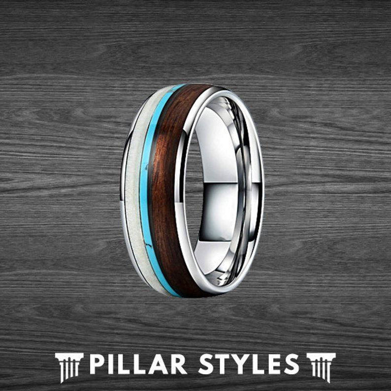 Tungsten Deer Antler Ring with Koa Wood and Turquoise Inlay Mens Wedding Band - Pillar Styles