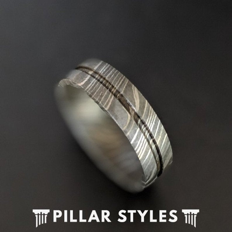 6mm Damascus Steel Ring Mens Wedding Band - Pillar Styles