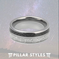 8mm Tungsten Meteorite Ring Mens Wedding Band with Black Carbon Fiber - Pillar Styles
