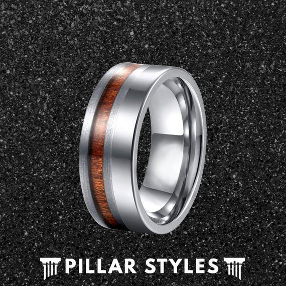 8mm Silver Titanium Wedding Band Koa Wood Ring - Pillar Styles