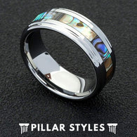 Mens Wedding Band Tungsten Abalone Shell Ring Unique Wedding Ring - Pillar Styles