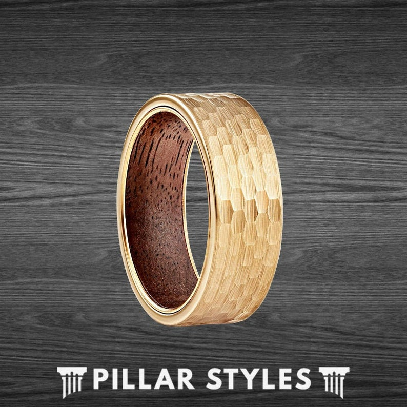 14K Gold Ring Hammered Tungsten Wedding Band Mens Ring Koa Wood Ring - Unique Hammered Ring - Pillar Styles