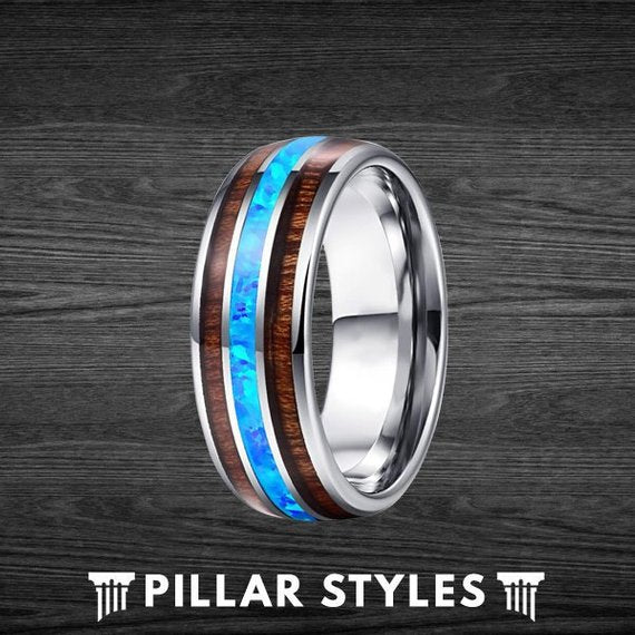 Unique Koa Wood and Blue Fire Opal Tungsten Ring - Pillar Styles