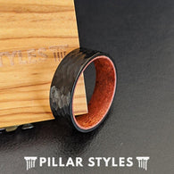 Black Koa Wood Ring Mens Wedding Band Hammered Ring - 8mm Unique Tungsten Mens Rings - Pillar Styles