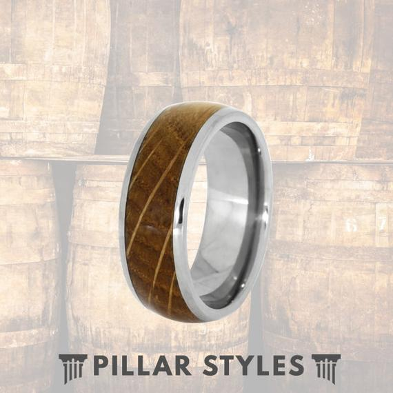 Whiskey Barrel Ring - Mens Wood Ring Tungsten Wedding Band