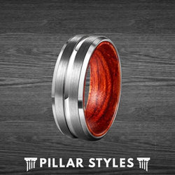 Mens Wedding Band Matte Silver Tungsten Ring with Rose Wood