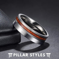6mm Koa Wood Ring Titanium Wedding Band - Pillar Styles