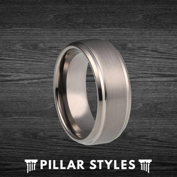 8mm/6mm Gunmetal Gray Tungsten Wedding Band with Step Edges - Pillar Styles