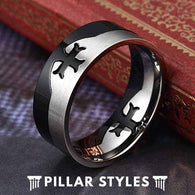 Titanium Wedding Band Christian Cross Ring - Pillar Styles