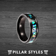 Black Abalone Shell Tungsten Ring