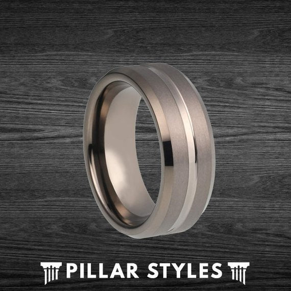 8mm & 6mm Gunmetal Gray Tungsten Wedding Band Ring with Center Groove - Pillar Styles