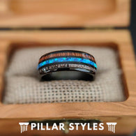 Black Opal Ring Tungsten Wedding Band Mens Ring, 8mm Antler & Koa Wood Ring Mens Wedding Band - Pillar Styles