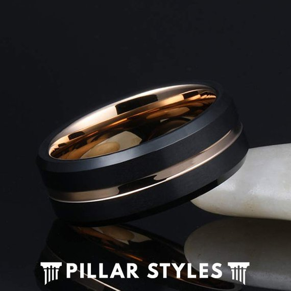 18K Rose Gold Tungsten Ring with Bevel Edges - Pillar Styles