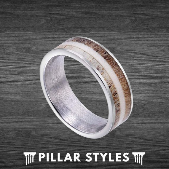 8mm Tungsten Exotic Two Tone Whitetail Antler Ring Hunting Ring Gift - Pillar Styles