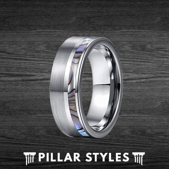 8mm Offset Abalone Shell Tungsten Mens Wedding Band - Pillar Styles