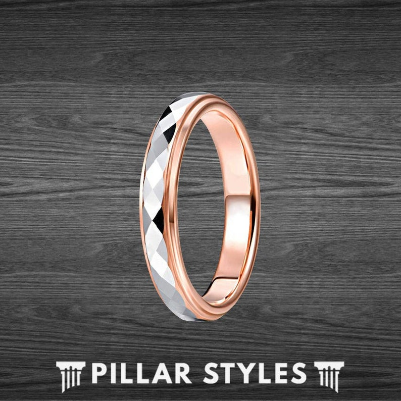 4mm Thin Rose Gold Ring Silver Faceted Womens Ring Tungsten Wedding Band - Pillar Styles