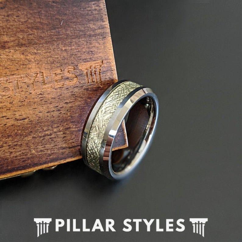 Silver Meteorite Ring with Beveled Edges Meteorite Wedding Band Mens Tungsten Ring - Pillar Styles