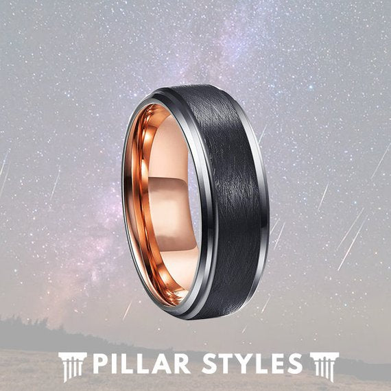Black Tungsten Ring with Rose Gold Interior - Pillar Styles