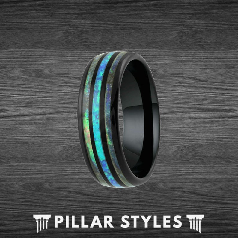 Mens 8mm Green Opal Ring Black Tungsten Wedding Band Abalone Ring