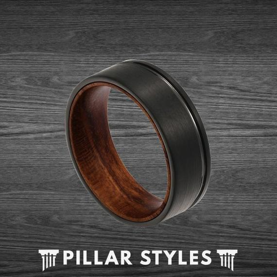 Black Tungsten 8mm Mens Wedding Band with Premium Rose Wood Inlay - Pillar Styles