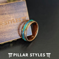 18K Rose Gold Ring Blue Opal Wedding Band with Abalone Shell - Rose Gold Wedding Band Mens Ring