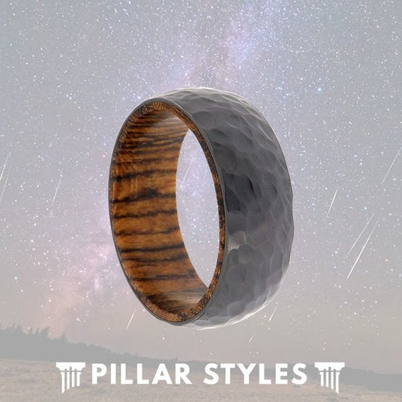 Zirconium Wedding Band Mens Premium Bocote Wood Ring