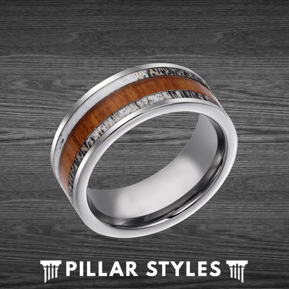 Deer Antler and Koa Wood Tungsten Mens Wedding Band - Pillar Styles