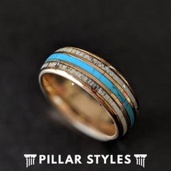 14K Rose Gold Ring with Turquoise & Antler Inlay Mens Wedding Band