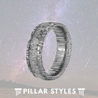 Titanium Deer Antler Ring With Damascus Steel - Pillar Styles