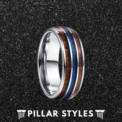 Hawaiian Koa Wood and Blue Meteorite Mens Wedding Band - Pillar Styles