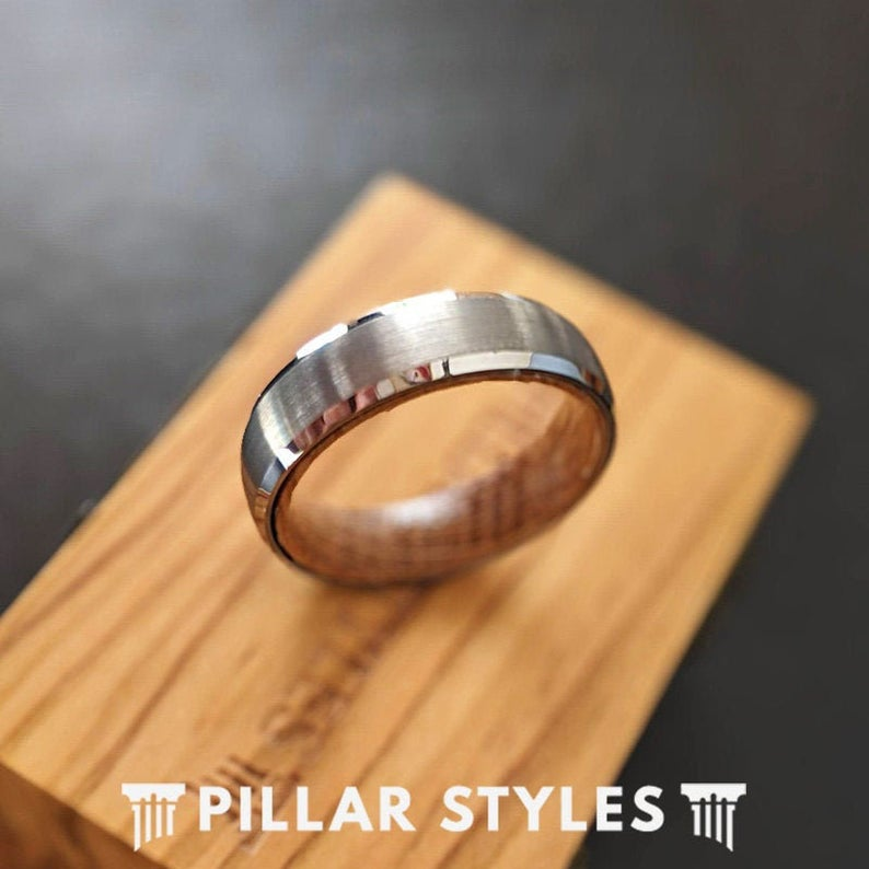 Whiskey Barrel Ring 6mm Silver Tungsten Ring Wood Wedding Band Mens Ring with Whisky Inlay