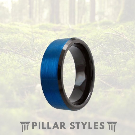8mm Blue Tungsten Ring with Black Finish - Pillar Styles