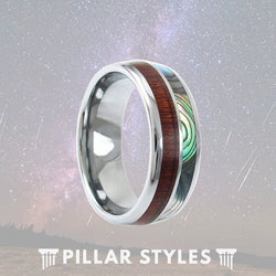 Mens Wedding Band Koa Wood Ring with Abalone Shell Inlay - Pillar Styles