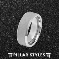 8mm Tungsten Sandblasted Ring Mens Wedding Band with Beveled Edges - Pillar Styles