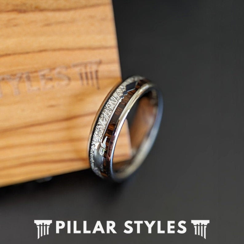6mm Meteorite Ring Tungsten Wedding Band Womens Ring - Koa Wood Ring with Meteorite & Arrow Inlay Mens Ring