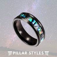 Black Tungsten Abalone Shell Mens Wedding Band - Pillar Styles
