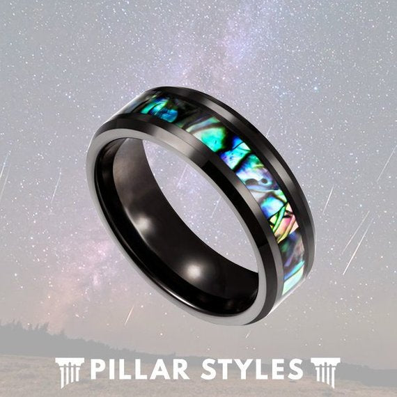 Black Tungsten Abalone Shell Mens Wedding Band