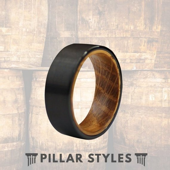 Whiskey Barrel Oak Wood Black Tungsten Wedding Band