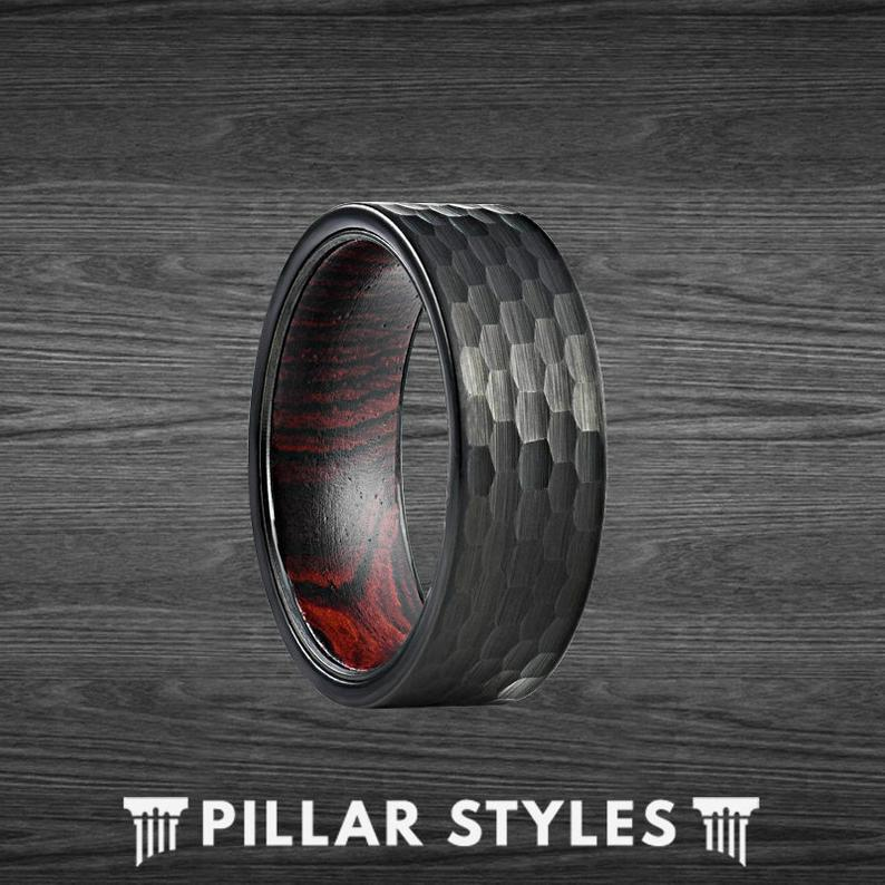 Exotic Wenge Wood Ring Black Tungsten Ring Mens Wedding Band 8mm Hammered Ring - Pillar Styles