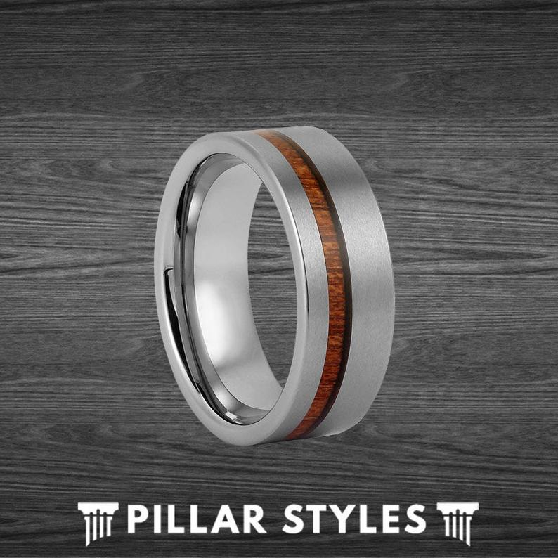 Koa Wood Ring Mens Wedding Band Tungsten Ring
