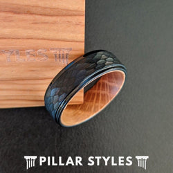 Black Whiskey Barrel Ring Mens Wedding Band Hammered Ring with Step Edges Tungsten Ring - Pillar Styles
