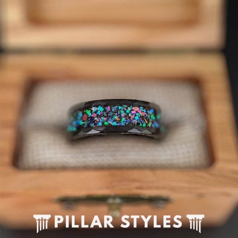 Black Hammered Ring Mens Wedding Band Opal Ring - Faceted Black Tungsten Rings for Men