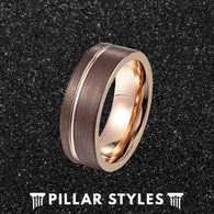 Cappuccino Tungsten Wedding Band with Rose Gold Interior - Pillar Styles