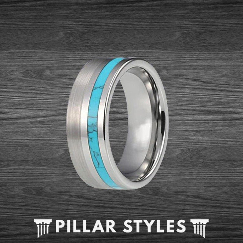 Brushed Silver Turquoise Wedding Band Tungsten