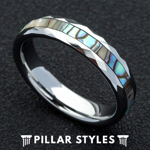Womens Wedding Band Abalone Shell Ring Tungsten 6mm Abalone Ring - Pillar Styles